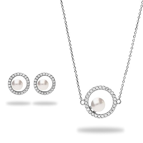 Spark Swarovski Elements Ensemble de bijoux femme argent 925, collier et boucles d'oreille, perle et cristal Swarovski Blanc