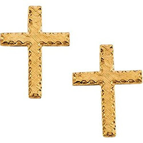 Girl's Latin Cross Earrings, 14k Yellow Gold (13x9MM) by The Men's Jewelry Store (for KIDS)