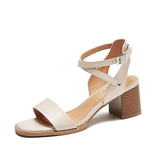 Open Alto Xzgc Blanco Tiras Los Mujeres Zapatos Gruesas toe Transversales De Tacón Verano Oscuro Con Sandalias Las 6wqpXCwF