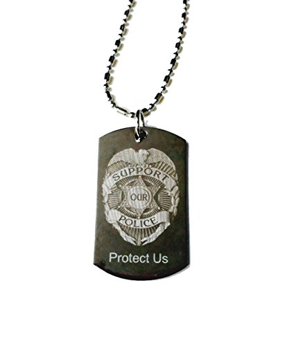 Police Policeman Prayer Your Protection Double Sided Logo - Military Dog Tag, (Silver Chrome) Luggage Tag Metal Chain Necklace ()