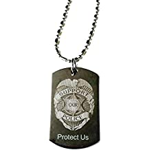 Police Policeman Prayer Your Protection Double Sided Logo - Military Dog Tag, (Silver Chrome) Luggage Tag Metal Chain Necklace