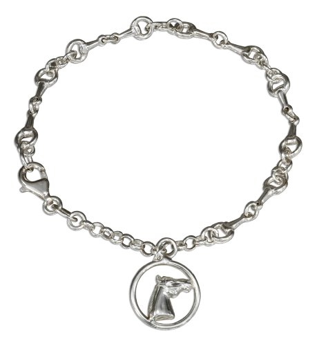 Sterling Silver 7.5 inch Link Bracelet with Horse Head Charm (Horse Sterling Silver Bracelet Head)