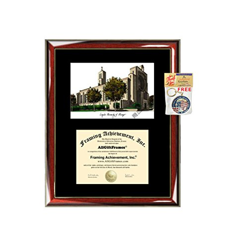 Loyola University of Chicago LUC Diploma Frame Lithograph - Premium Wood Glossy Prestige Mahogany with Gold Accents - Single Black Mat - University Diploma Frame