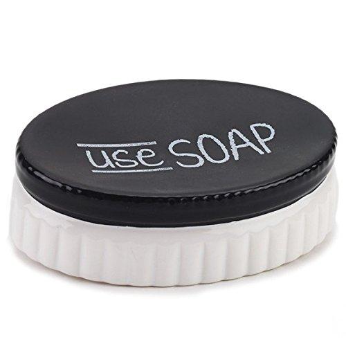 Chalk It Up White Black Ceramic Soap Dish