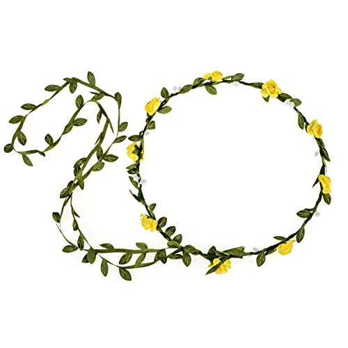 Tail Rose Yellow (June Bloomy Paper Rose Flower Headband with Tail Boho Floral Crown Wreath (Yellow))