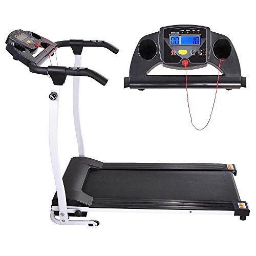 Globe House Products GHP 1100W PVC Belt White Folding Exercise Treadmill witht Multi-Function LCD Display