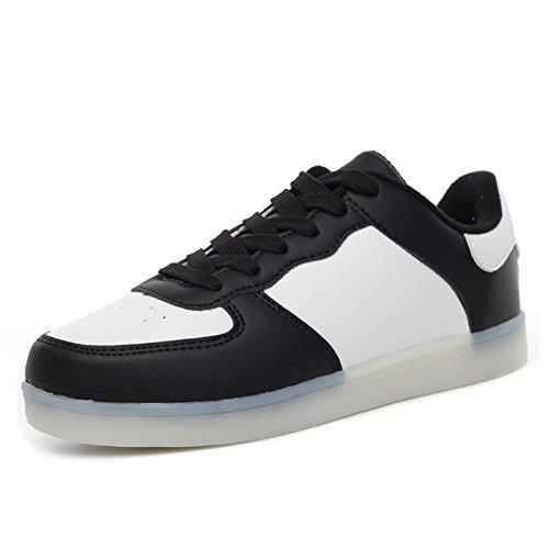 Kaleido Shinynight Usb Opladen 11 Kleuren Led Oplichten Schoenen Mode Sneakers Sportschoenen Voor Heren Dames Meisjes Jongens W-zwart Wit
