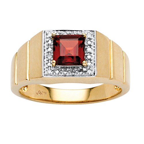 Men's Square-Cut Red Garnet and Diamond Accent 10k Yellow Gold Etched Band Ring
