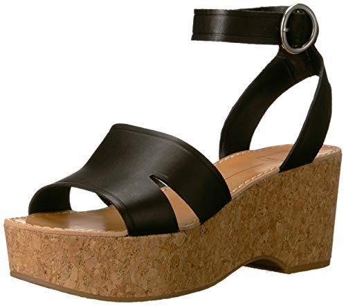 Dolce Vita Women's Linda Wedge Sandal Black Leather 8.5 M US