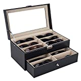 Suines Leather Multi Sunglasses Organizer for Women Men Eyeglasses Eyewear Display Case Sunglass Glasses Storage Holder Box Sunglasses Collection Case (12 Slots)