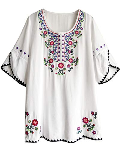 Amy Babe Women's Round Neck Floral Embroidered Peasant Tops Half Sleeve Mexican Bohemian Blouse Shirts White ()