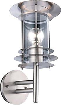 Lámpara de pared exterior de acero inoxidable y plástico transparente (lámpara de pared, 1 foco, foco de pared, lámpara de jardín, terraza, lámpara para exteriores, altura 36 cm, diámetro 24,5 cm)