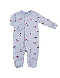 Kushies Baby Basic Sleeper, Blue Planes, 3 Month