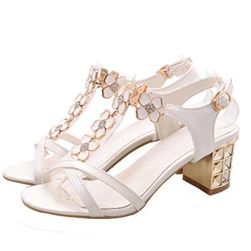 AIYOUMEI Damen T-spangen Chunky Heel Knöchelriemchen Sandalen mit Blumen und 6cm Absatz Blockabsatz Sommer Schuhe Weiß