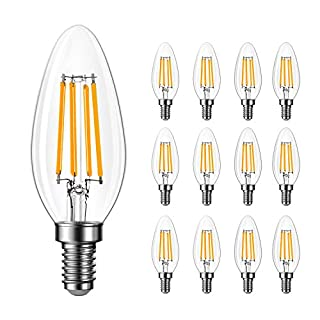 Amico 12 Pack B11 LED Candelabra Bulb, Dimmable, 6W=60W, 2700K Soft White, Vintage Edison Filament Bulb, 600 LM, E12 Base, Clear Glass
