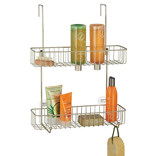 - mDesign Extra Wide Metal Wire Over The Bathroom Shower Door Caddy, Hanging Storage Organizer Center with Built-in Hooks and Baskets on 2 Levels for Shampoo, Body Wash, Loofahs - Satin