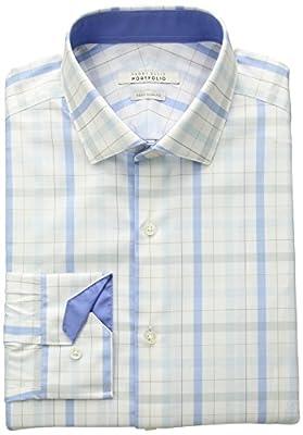 Perry Ellis Portfolio Men's Slim Fit Performance Plaid Dress Shirt, Aqua