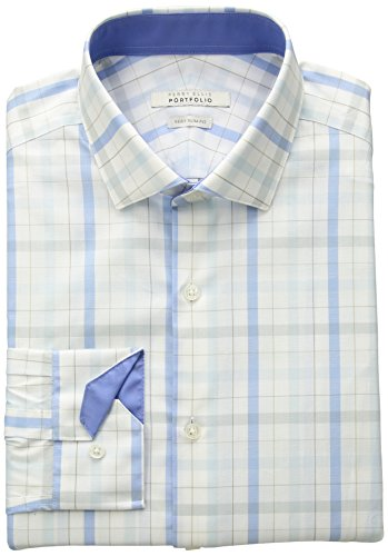 Perry-Ellis-Portfolio-Mens-Slim-Fit-Performance-Plaid-Dress-Shirt-Aqua