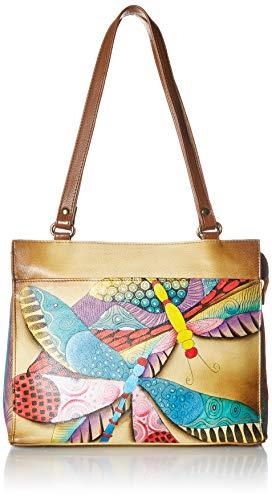 Anuschka Women's Genuine Leather Flap-Over Medium Shoulder Bag | Chic & Stylish Organizer | Dancing Dragonfly