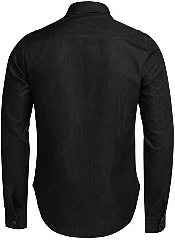 JINIDU Mens Casual Button Down Denim Shirts Long Sleeve Dress Shirt