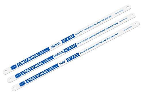 18t Hacksaw Blade - Century Drill & Tool 4433 Cobalt Bi-hard Hacksaw Blade Set, 3 Piece