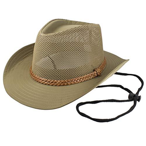 - Gelante Wide Brim Summer Air Flow Mesh Fedora Cowboy Hats M265-Beige-S/M