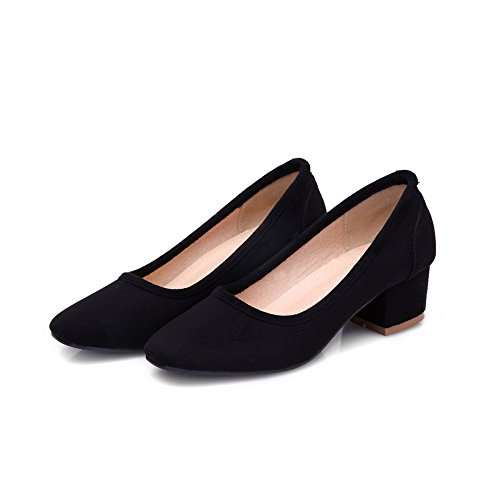 Balamasa Bout Rond À Talons Carrés Style Romain Imité Chaussures En Daim Noir