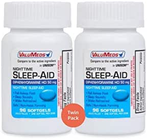 ValuMeds Nighttime Sleep Aid (Twin Pack - 192 Softgels) Diphenhydramine HCl, 50 mg | Supports Deeper, Restful Sleeping for Men, Women