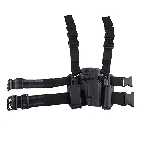 AGPtek Military Special Forces Quick Release Tactical Right Hand Paddle + Leg Belt Hard Drop Leg Holster for Colt 1911 (Black) Right Hand Drop Leg
