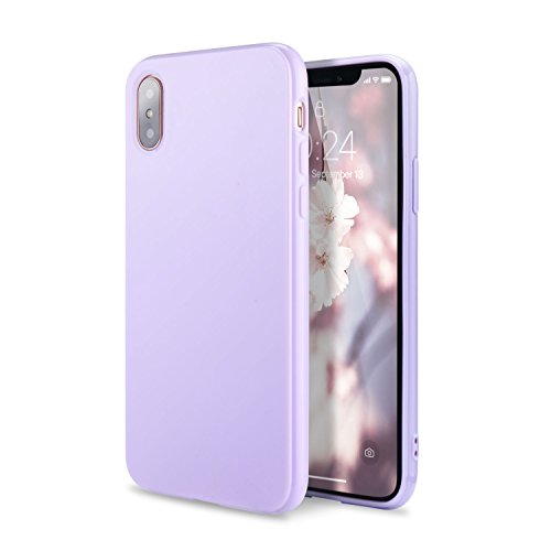 iPhone Xs Case, iPhone X Case, FGA Sugar Candy Cute Lightweight Shockproof Full Protective Slim Fit Solid Color Flexible Soft TPU Bumper Gel Case Cover Apple iPhone Xs, iPhone X(Lavender)