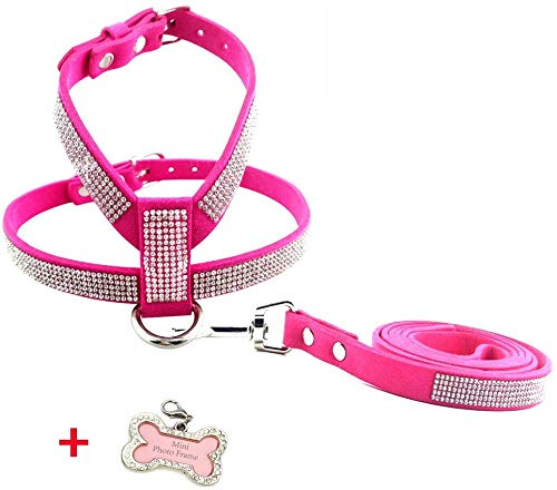 PETCARE Sparkly Rhinestone Bling Dog Harness Leash Set Soft Leather Shining Diamonds Pet Collar Harness Vest for Small Medium Dogs Cats (S, Pink)