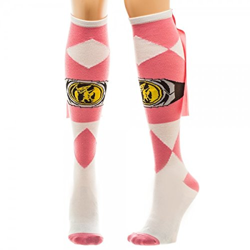 Power Rangers Pink Womens Knee High Socks with Cape