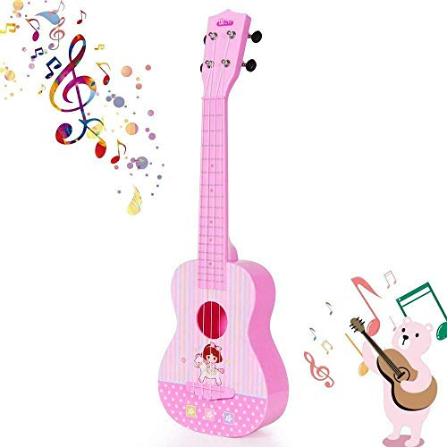 HANMUN Unicorn Musical Ukulele Guitar Toys Baby Toddler Guitar Toy 2019 Pink Guitar with 4 Strings Musical Instruments Learning Educational Toys for Kids Children Adult Children (Pink) ¡­