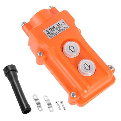 uxcell Rainproof IP55 Hoist Crane Pendant Control Station Push Button Switch Up Down 2 Ways Orange