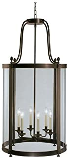 product image for Robert Abbey Z3362 Foyer/Hall Lanterns with Clear Glass Shades, Deep Patina Bronze Finish