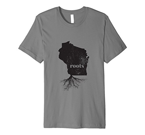 Mens Wisconsin Roots State Map Shirt Home Love Pride Gift T XL Slate