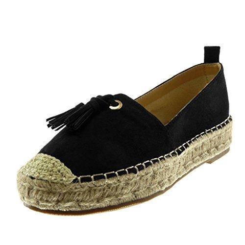 Chaussures De Talon Mode Cm Plate on forme Pom Frange Cordon Bloc Noir Slip La 5 Angkorly Pom Féminine Espadrilles 3 rdd5qwZ