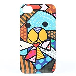 LCJ Colorful Bear Pattern Transparent Frame Hard Case for iPhone 4/4S