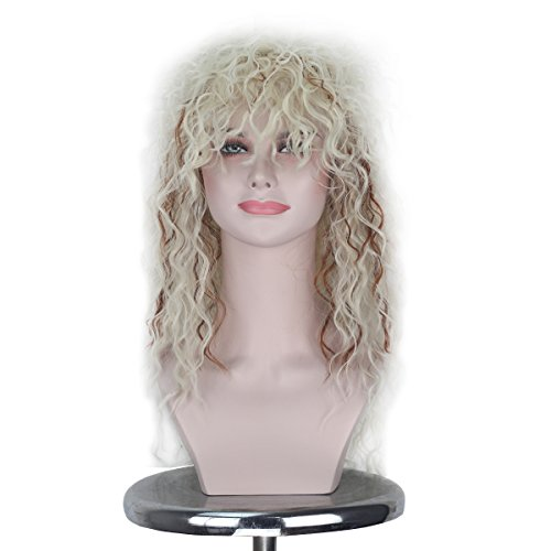 Women 70s 80s Themed Party Halloween Costume Cosplay Wig Long Beige with Brown Highlight Curly Hair Punk Heavy Metal Rocker Wig ()