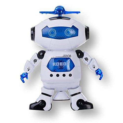 image LEZO Robot à technologie intelligente Dansant, musicien et Lumières pour Enfants.  La tournée et à bientôt.  Il Bouge Ses Bras et Ses Jambes.  Blanc et Bleu.