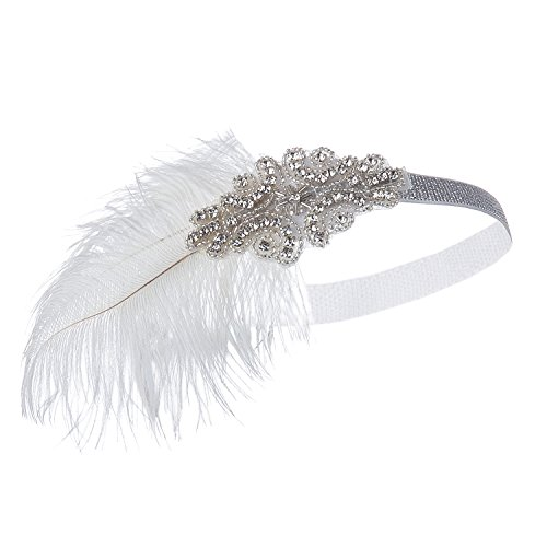 Metme Women's 1920s Great Gatsby Party Headpiece White Feather Silver Headband - Charleston Costume Makeup