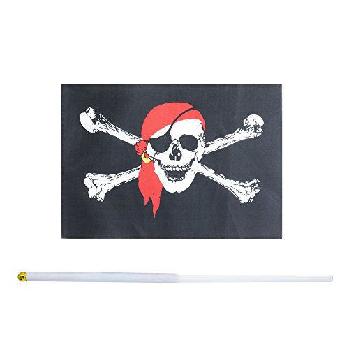 Kind Girl 50 Pack Hand Held Pirate Flags Flag Stick Flag Round Top Flags, Party Decorations Supplies, Sports Events,Pirate Festival,Pirate party (Jolly Roger Red Bandana)
