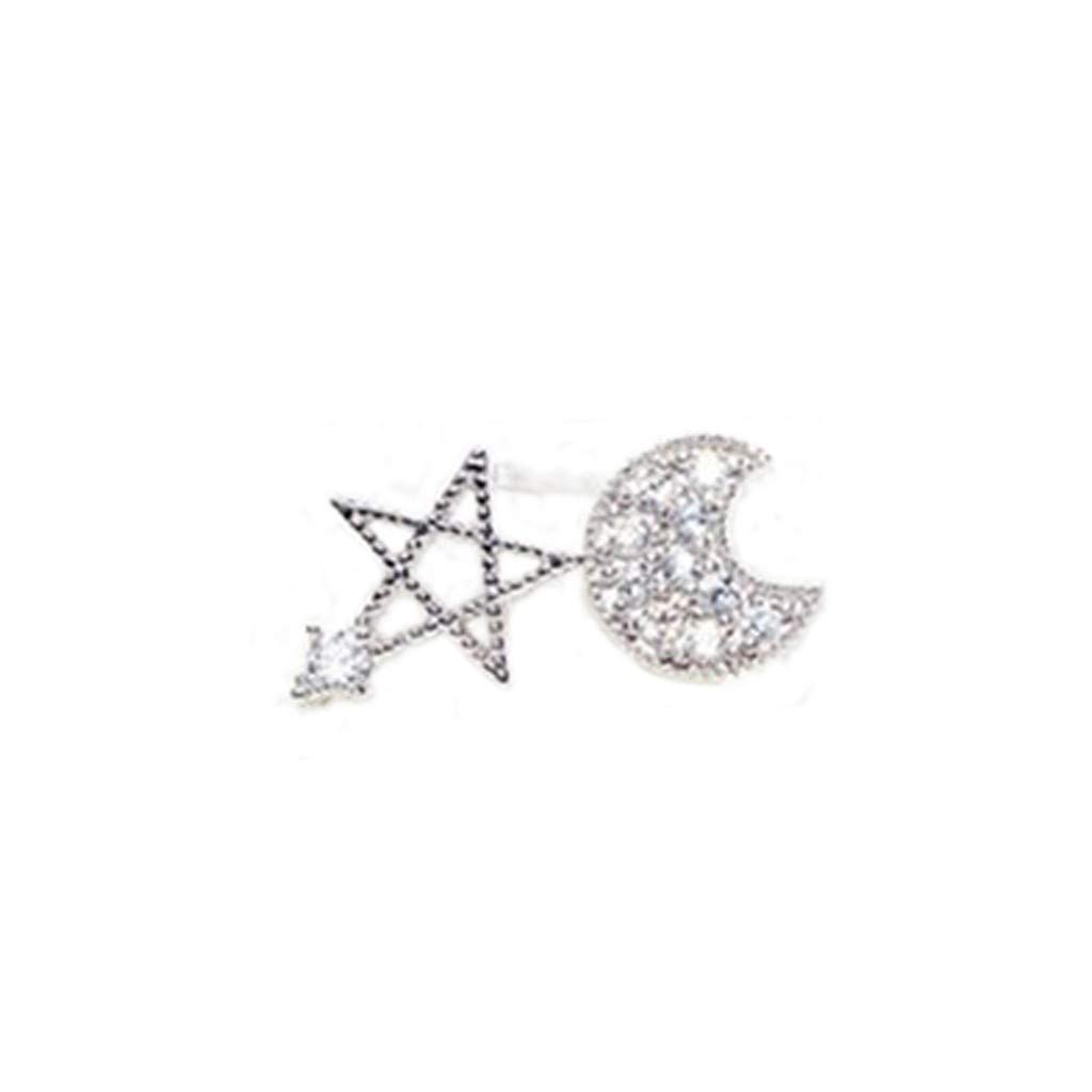 NEWDD Star-and-Moon Asymmetrical Stud Earrings- Shiny Earrings, The Most Beautiful People