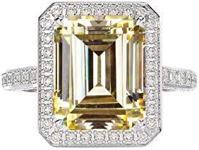 Daesar Damen Ring Echt Silber 925 4-Steg-Krappenfassung mit Gelb Zirkonia Partnerring Silber Verlobungsring