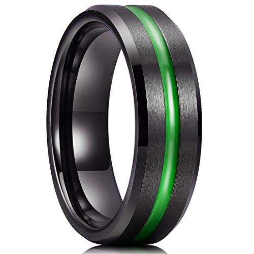 King Will LOOP Mens 7mm Black Brushed Grooved Green Thin Line Tungsten Carbide Wedding Ring Beveled Edge 8