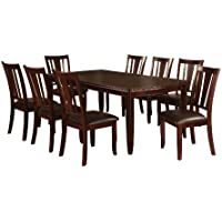 Furniture of America Frederick 9-Piece Dining Table Set with 18-Inch Expandable Leaf, Espresso Finish