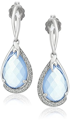 Sterling Silver Checkerboard Blue Chalcedony Pear Shape with White Topaz Accent Drop Earrings (Topaz Blue Earrings Chalcedony)