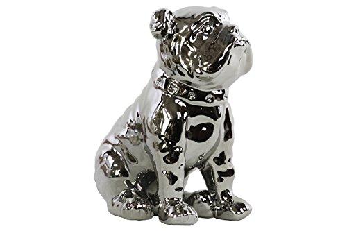 Ceramic Collar - Urban Trends Ceramic Sitting British Bulldog Figurine with Collar Polished Chrome Finish Silver, Silver