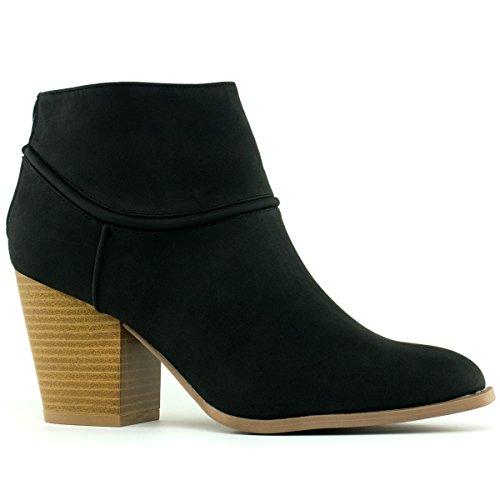 T Ankle Suede Stacked Faux Women's Bootie Standard Premier Black Toe Round Western Heel x47zzqB