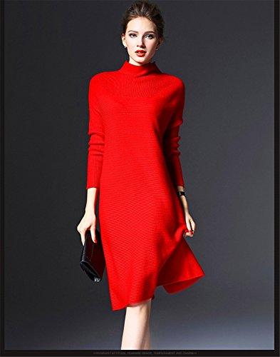 iHAIPI - Damen kuscheliger Strick-Pulli Pullover Strickkleid Minikleid Rundhals-Ausschnitt (Gelb) Rote qbp9B